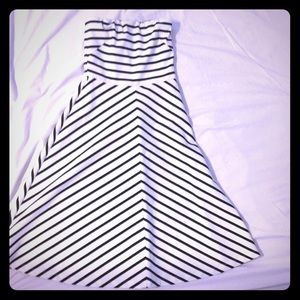 Strapless striped fit and flare dress